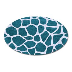 Skin1 White Marble & Teal Leather (r) Oval Magnet by trendistuff