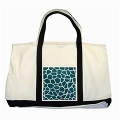 Skin1 White Marble & Teal Leather (r) Two Tone Tote Bag by trendistuff