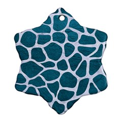 Skin1 White Marble & Teal Leather (r) Snowflake Ornament (two Sides) by trendistuff