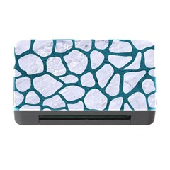 Skin1 White Marble & Teal Leather Memory Card Reader With Cf by trendistuff