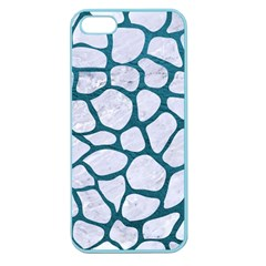 Skin1 White Marble & Teal Leather Apple Seamless Iphone 5 Case (color) by trendistuff