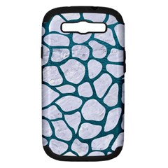 Skin1 White Marble & Teal Leather Samsung Galaxy S Iii Hardshell Case (pc+silicone) by trendistuff
