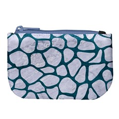 Skin1 White Marble & Teal Leather Large Coin Purse by trendistuff