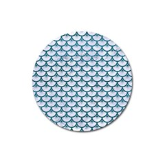 Scales3 White Marble & Teal Leather (r) Magnet 3  (round)