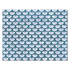 Scales3 White Marble & Teal Leather (r) Rectangular Jigsaw Puzzl by trendistuff