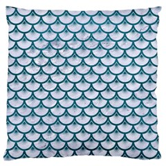 Scales3 White Marble & Teal Leather (r) Large Cushion Case (two Sides) by trendistuff