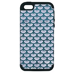 Scales3 White Marble & Teal Leather (r) Apple Iphone 5 Hardshell Case (pc+silicone) by trendistuff