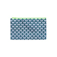Scales3 White Marble & Teal Leather (r) Cosmetic Bag (xs) by trendistuff