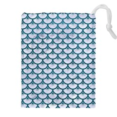 Scales3 White Marble & Teal Leather (r) Drawstring Pouches (xxl) by trendistuff
