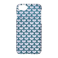 Scales3 White Marble & Teal Leather (r) Apple Iphone 8 Hardshell Case by trendistuff