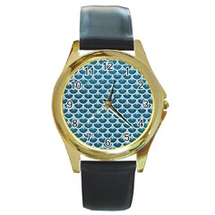 Scales3 White Marble & Teal Leather Round Gold Metal Watch