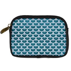Scales3 White Marble & Teal Leather Digital Camera Cases by trendistuff