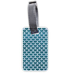 Scales3 White Marble & Teal Leather Luggage Tags (two Sides) by trendistuff