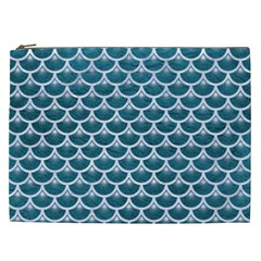Scales3 White Marble & Teal Leather Cosmetic Bag (xxl)  by trendistuff