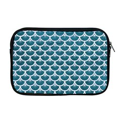 Scales3 White Marble & Teal Leather Apple Macbook Pro 17  Zipper Case