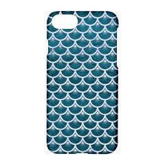 Scales3 White Marble & Teal Leather Apple Iphone 8 Hardshell Case