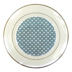 Scales2 White Marble & Teal Leather (r) Porcelain Plates by trendistuff