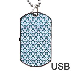 Scales2 White Marble & Teal Leather (r) Dog Tag Usb Flash (one Side) by trendistuff