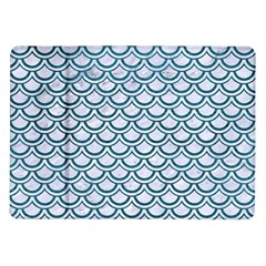 Scales2 White Marble & Teal Leather (r) Samsung Galaxy Tab 10 1  P7500 Flip Case by trendistuff