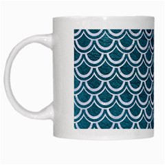 Scales2 White Marble & Teal Leather White Mugs by trendistuff