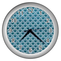 Scales2 White Marble & Teal Leather Wall Clocks (silver)  by trendistuff