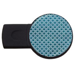 Scales2 White Marble & Teal Leather Usb Flash Drive Round (2 Gb) by trendistuff
