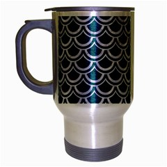 Scales2 White Marble & Teal Leather Travel Mug (silver Gray) by trendistuff
