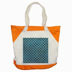 Scales2 White Marble & Teal Leather Accent Tote Bag by trendistuff