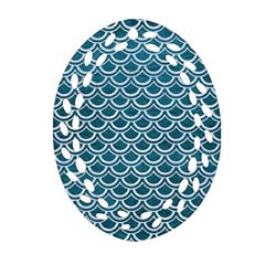 Scales2 White Marble & Teal Leather Ornament (oval Filigree) by trendistuff