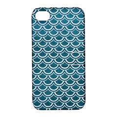 Scales2 White Marble & Teal Leather Apple Iphone 4/4s Hardshell Case With Stand by trendistuff