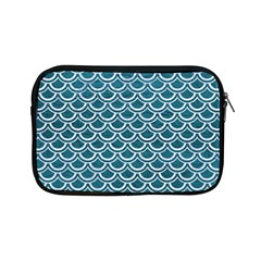 Scales2 White Marble & Teal Leather Apple Ipad Mini Zipper Cases by trendistuff
