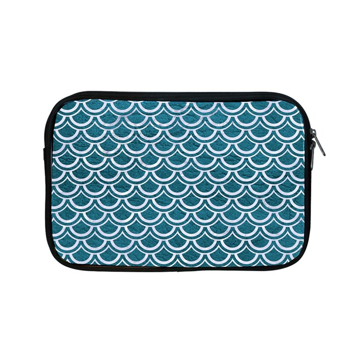 SCALES2 WHITE MARBLE & TEAL LEATHER Apple iPad Mini Zipper Cases