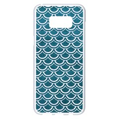 Scales2 White Marble & Teal Leather Samsung Galaxy S8 Plus White Seamless Case by trendistuff