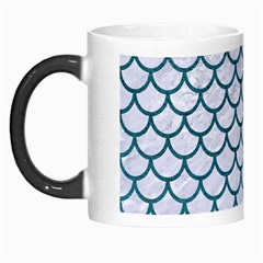Scales1 White Marble & Teal Leather (r) Morph Mugs by trendistuff