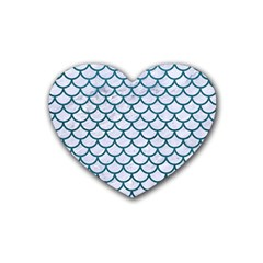 Scales1 White Marble & Teal Leather (r) Rubber Coaster (heart)  by trendistuff