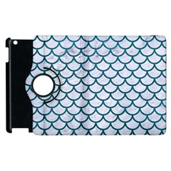 Scales1 White Marble & Teal Leather (r) Apple Ipad 3/4 Flip 360 Case