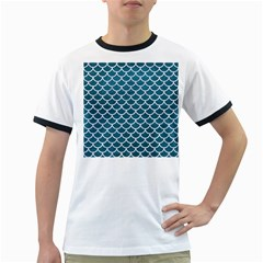 Scales1 White Marble & Teal Leather Ringer T Shirts