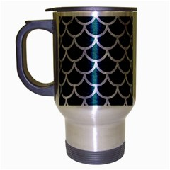 Scales1 White Marble & Teal Leather Travel Mug (silver Gray) by trendistuff