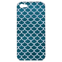 Scales1 White Marble & Teal Leather Apple Iphone 5 Hardshell Case by trendistuff