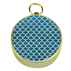 Scales1 White Marble & Teal Leather Gold Compasses by trendistuff