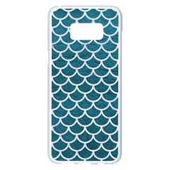 Scales1 White Marble & Teal Leather Samsung Galaxy S8 Plus White Seamless Case by trendistuff