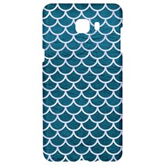 Scales1 White Marble & Teal Leather Samsung C9 Pro Hardshell Case  by trendistuff