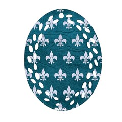 Royal1 White Marble & Teal Leather (r) Ornament (oval Filigree) by trendistuff