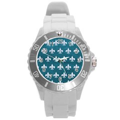 Royal1 White Marble & Teal Leather (r) Round Plastic Sport Watch (l) by trendistuff
