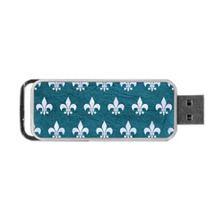 Royal1 White Marble & Teal Leather (r) Portable Usb Flash (two Sides) by trendistuff