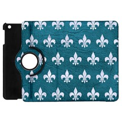 Royal1 White Marble & Teal Leather (r) Apple Ipad Mini Flip 360 Case by trendistuff