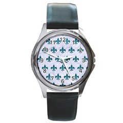 Royal1 White Marble & Teal Leather Round Metal Watch by trendistuff