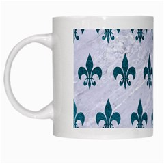 Royal1 White Marble & Teal Leather White Mugs by trendistuff