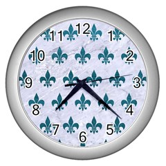 Royal1 White Marble & Teal Leather Wall Clocks (silver)  by trendistuff