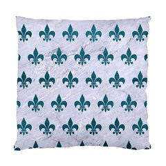 Royal1 White Marble & Teal Leather Standard Cushion Case (two Sides) by trendistuff